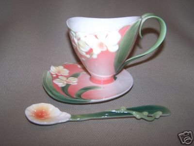 FRANZ Porcelain Winter Moth Orchid Cup Saucer Spoon New