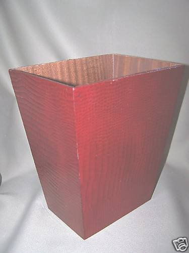 LABRAZEL Contempo Red Leather Waste Basket Italy New