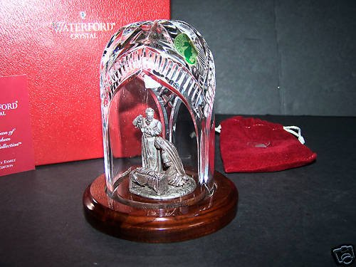 WATERFORD Holy Family Crystal & Pewter Sculpture NIB