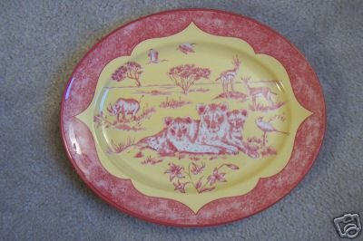 Lynn Chase Oval Platter African Inspirations Cranberry Yellow New