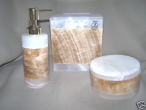 LABRAZEL Lotion Pump Tissue Cover Jar Set Stone New