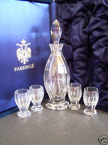 FABERGE Crystal Czarina Liqueur Set Decanter 4 Glasses NIB