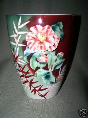 FRANZ Sculptured Porcelain Far East Design Vase  New