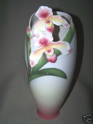 FRANZ Porcelain Slipper Orchid Design Tall Vase New