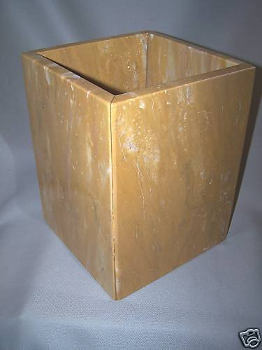 LABRAZEL Natural Mango Marble Waste Basket Trash Can Hand Made Italy New