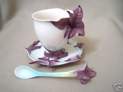 FRANZ Porcelain Basil Herb Cup Saucer Spoon Set New