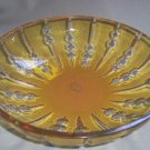 Decorative Hand Cut Crystal Bowl Amber Gold Hungary New