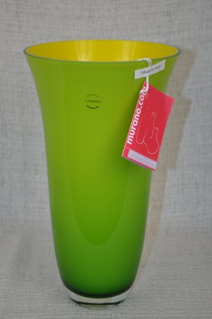 MURANO Art Glass Cased Yellow/Green Tall Vase Nason New