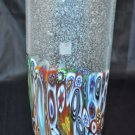 MURANO Art Glass Vase Clear Murrine Silver Dust Bubbles Gambaro & Poggi New