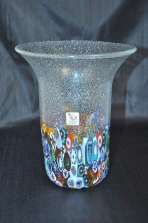 MURANO Art Glass Vase Clear Murrine Silver Dust Bubbles Gambaro & Poggi Flared