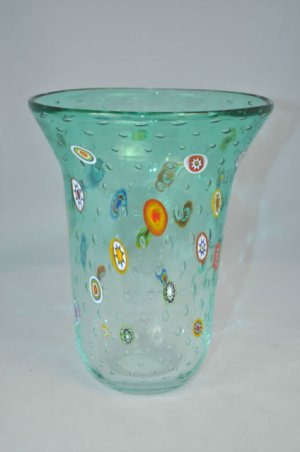 MURANO Art Glass Vase Clear/Green Murrine Controlled Bubbles Gambaro & Poggi New