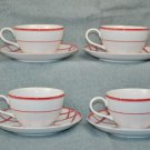 RALPH LAUREN Red Pagoda Cup & Saucer Set of 4 New