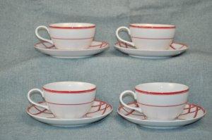 RALPH LAUREN Red Pagoda Cup & Saucer Set of 4 New