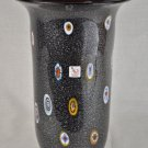 MURANO Art Glass Black Vase Millefiori Gambaro and Poggi New