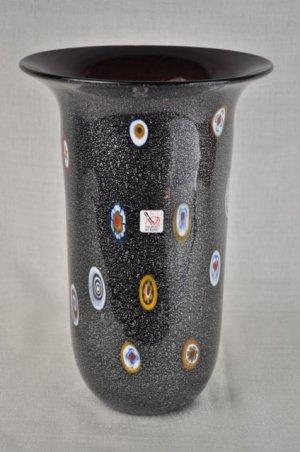 MURANO Art Glass Black Vase Millefiori Gambaro and Poggi New