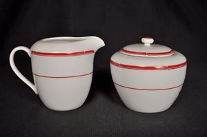 RALPH LAUREN Red Pagoda Sugar Bowl and Creamer Set New