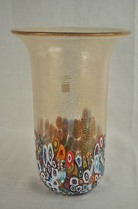 MURANO Art Glass Vase Clear Murrine Gold Dust  Gambaro & Poggi Flared