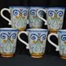 FITZ & FLOYD Ricamo Large Mugs Set of 6  New