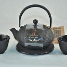 RIKYU Cast Iron Tetsubin Teapot  2 Cups Trivet Set Black Hobnail New