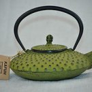 KAFUH Cast Iron Tetsubin Tea Pot Lime Green Hobnail Flat  New