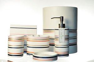 Lenox candy shop stripe bath vanity accessories 6 piece for Striped bathroom accessories sets
