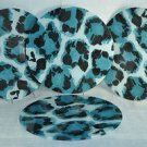 DIANE VON FURSTENBERG Home Cheetah Spot Blue Glass Charger Set/4 New