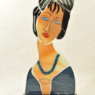 SEBINO ARTE Paperweight Fused Glass Modigliani Painting Hebuterne Hand Made New