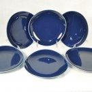 DIANE VON FURSTENBERG DVF Home Pebblestone Cobalt Blue Dessert Plates Set/6  New