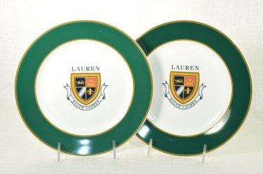 RALPH LAUREN Knockhill Green Luncheon Plates Set of 2 New