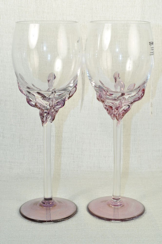 Ion Tamaian Art Glass Wine Glasses Lilac Set 2 Signed Hand