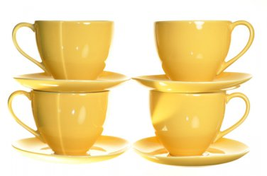 DIANE VON FURSTENBERG DVF Pebblestone Tamarind Yellow Tea Cup/Saucers Set/4 New