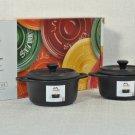STAUB Ceramic Set of 2 Round Cocottes with Lids Black France NIB