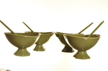 DIANE VON FURSTENBERG DVF Pebblestone Avocado Green Dessert Bowl/Spoon Set/4 New