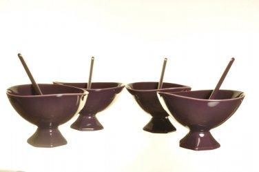 DIANE VON FURSTENBERG DVF Pebblestone  Eggplant Dessert Bowl/Spoon Set/4 New