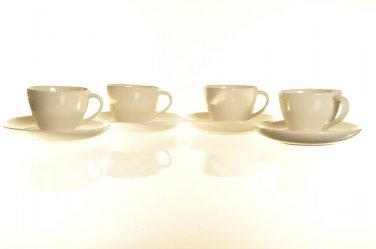 DIANE VON FURSTENBERG DVF Pebblestone White Demitasse Espresso Cup & Saucers Set/4 New