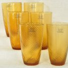 DIANE VON FURSTENBERG DVF Home Twirl Amber Hi Ball Glasses Set of 6 New