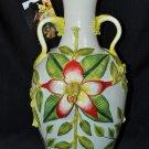 ARTISTS OF AFRICA Studio Sculptured Ceramic Tropical Daphne Vase New