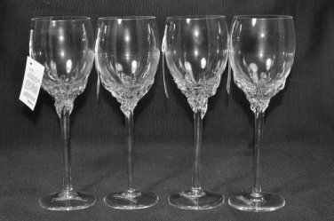 ION TAMAIAN Art Glass Wine Glasses Clear Set/4 Signed Romania New