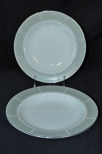 WEDGWOOD Shagreen Jade Rim Soup Bowls Set/2  New