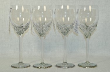 ION TAMAIAN Art Glass Wine Glasses Metallic Light Green Set/4 Signed Romania New