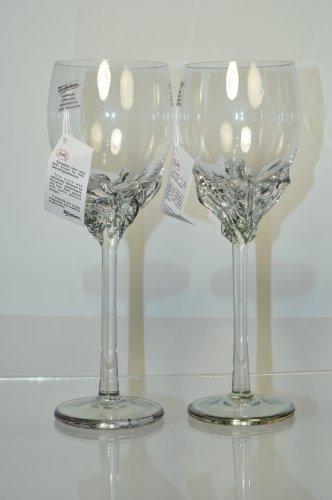 ION TAMAIAN Art Glass Wine Glasses Metallic Light Green Set/2 Signed Romania New