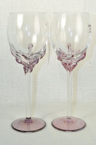 ION TAMAIAN Art Glass Wine Glasses Purple Set/2 Signed  Romania New