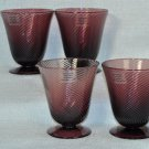DIANE VON FURSTENBERG DVF Home Twirl Eggplant Red Wine Glasses Set/4 New