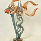 BERNI ENTERPRISES Art Glass Angel Fish with Seaweeds  New