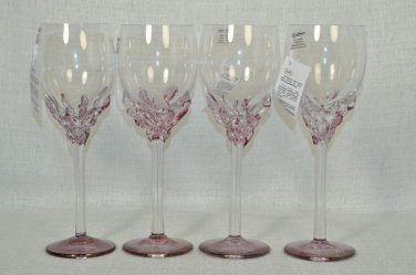 ION TAMAIAN Art Glass Wine Glasses Purple Set/4 Signed  Romania New
