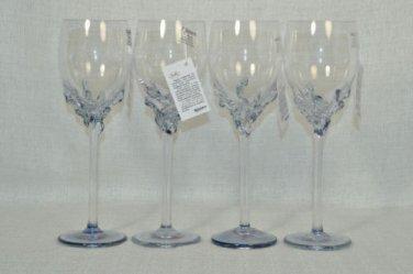 ION TAMAIAN Art Glass Wine Glasses Metallic Blue Set/4 Signed  Romania New