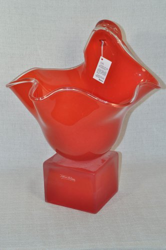 ION TAMAIAN Art Glass Hand Blown Red Vase/Sculpture on Base Romania New