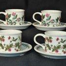 PORTMEIRION Botanic Garden Tea Cups and Saucers Set/4 Assorted New