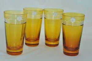 CRYSTAL Diamond Cut Amber Hi Ball Glasses Set/4 Hungary New