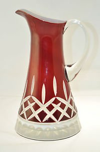 CRYSTAL Diamond Cut Dark Red Pitcher Cased Hungary New